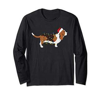 Long Sleeve Christmas Lights Basset Hound T-Shirt