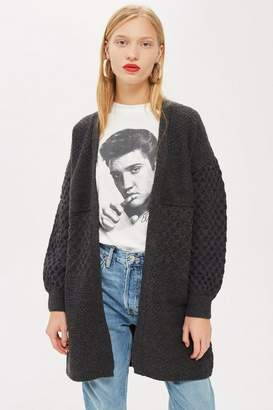 Topshop Honeycomb Sleeve Cardigan