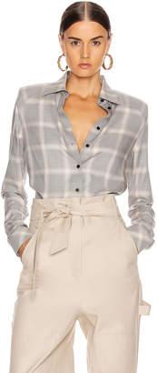 RtA Maxine Shirt in Grey Plaid | FWRD