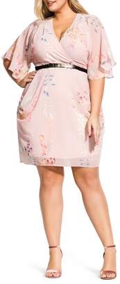 City Chic Blushing Vine Wrap Dress