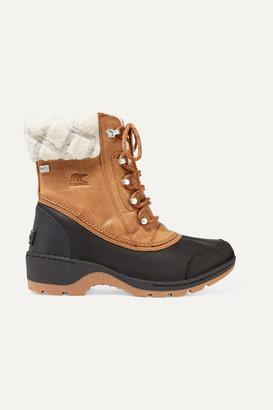 Sorel Whistler Rubber And Wool-trimmed Waterproof Nubuck Boots - Tan