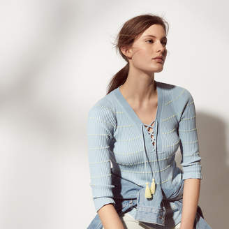 Sandro Knitted sweater with laced neckline