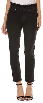 Paige Hoxton Ruffle Straight Ankle Jeans
