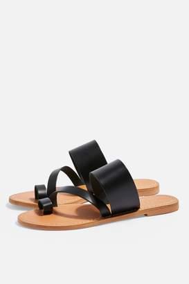 88b3eec16aa1 Topshop Womens Honey Black Flat Sandals - Black