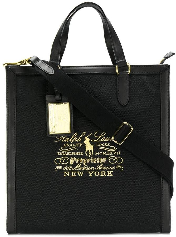 Ralph Lauren logo embroidered tote