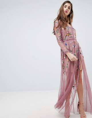 French Connection Sheer Embroidered Maxi Dress