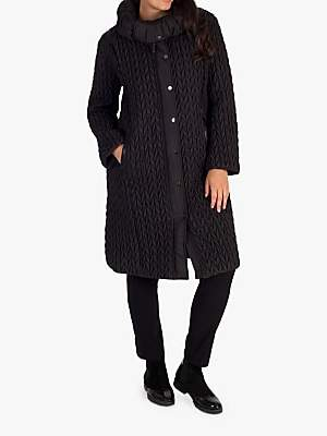Chesca Cable Quilted Long Coat, Black
