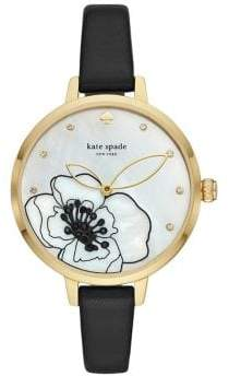 Kate Spade Metro Three-Hand Black Leather Watch