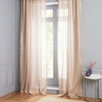 west elm Sheer Metallic Belgian Linen Curtain - Dusty Blush