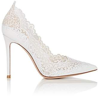 Gianvito Rossi Women's Evie Leather & Lace Pumps - White