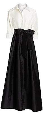 Teri Jon by Rickie Freeman Women's Collared Taffeta Ball Gown