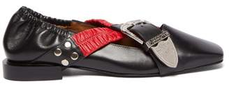 Toga Buckled Square Toe Leather Pumps - Womens - Black Red