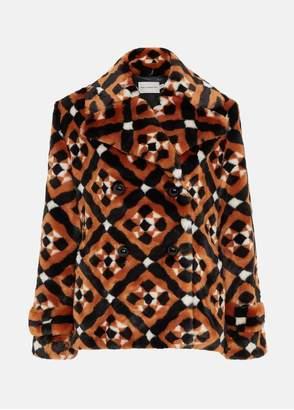 Mary Katrantzou Oates Coat Black/White/Caramel Tiles