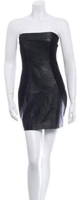 Halston Leather Paneled Mini Dress