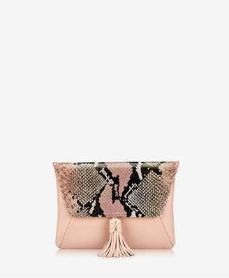 GiGi New York Aveline Clutch In Rose Wash Embossed Python