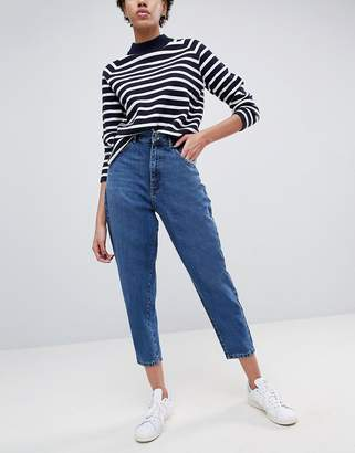 Asos DESIGN balloon leg boyfriend jeans in dark wash blue
