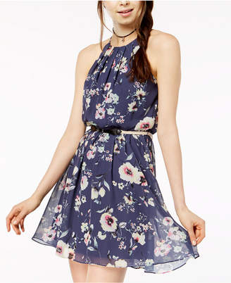 BCX Juniors' Printed Pleat-Neck Dress with Belt