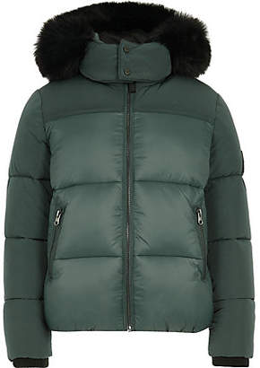 River Island Boys green faux fur hood puffer coat