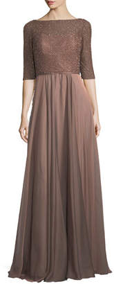 La Femme 3/4 Sleeves Beaded Chiffon Pleated Evening Gown