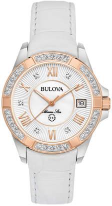 Bulova Women's Leather Diamond Watch