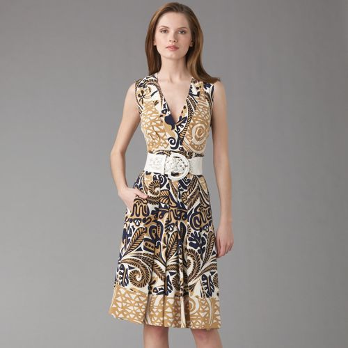 Kay Unger Tribal Print Silk Dress