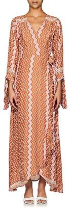 Natalie Martin Women's Danika Zigzag-Print Silk Maxi Wrap Dress