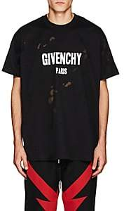 Givenchy Men's Logo-Print Distressed Cotton T-Shirt - Black