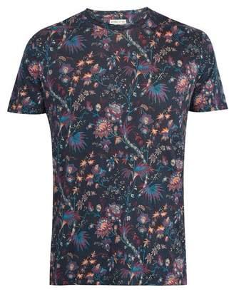 Etro Floral Print Linen Jersey T Shirt - Mens - Blue