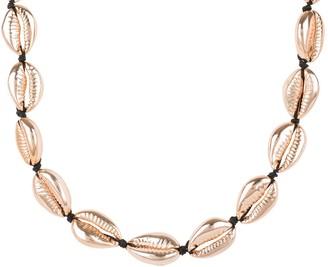 Latelita Cowrie Shell Choker Strand Necklace Rose Gold