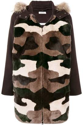 P.A.R.O.S.H. hooded camouflage parka coat