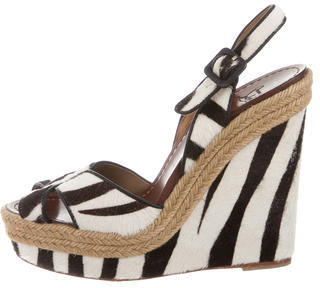 Christian Louboutin  Christian Louboutin Ponyhair Wedge Sandals