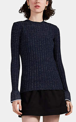 Derek Lam 10 Crosby Women's Metallic Rib-Knit Sweater - Navy