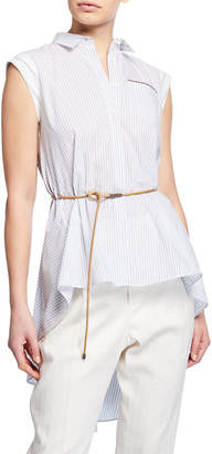Brunello Cucinelli Sleeveless Button-Front Belted High-Low Top