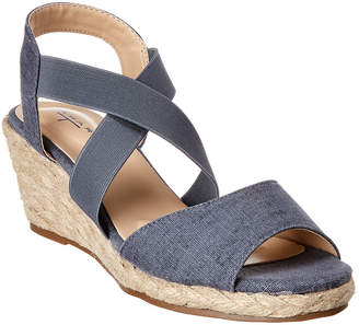 T Tahari Priela Canvas Wedge Sandal