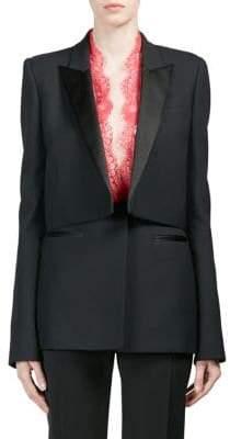 Alexander McQueen Wool Blend Lace-Trim Blazer
