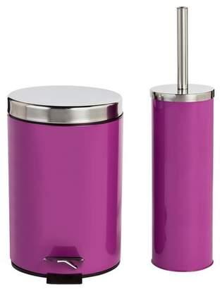 ColourMatch Slow Close Bin & Toilet Brush Set - Grape