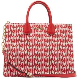 Miu Miu Logo Jacquard Leather Handle Tote Bag - Womens - Red White