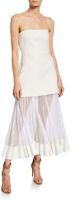 Dion Lee Strapless Pleated Net Skirt Midi Dress