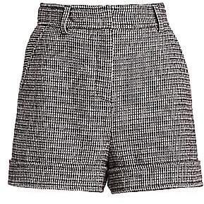Maje Women's Igor High-Rise Houndstooth Wool-Blend Shorts