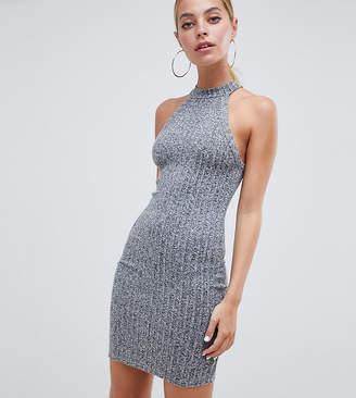 Asos DESIGN Petite marl rib bodycon mini dress with racer neck
