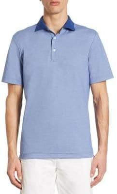 Saks Fifth Avenue COLLECTION Contrast Collar Cotton Polo
