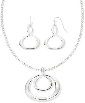 Liz Claiborne Silver-Tone Infinity Necklace and Earring Set