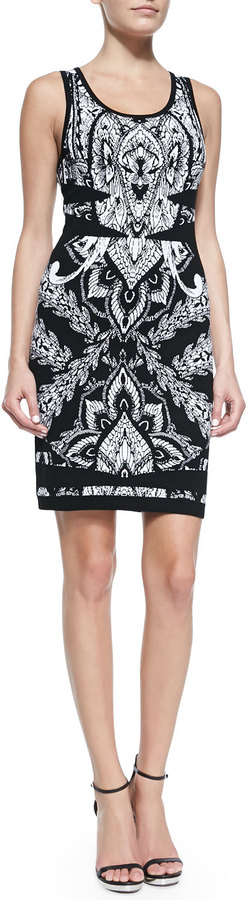 Nicole Miller Sleeveless Printed Knit Cocktail Dress
