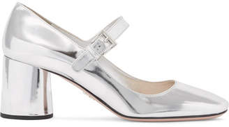 Prada - Metallic Leather Mary Jane Pumps - Silver $675 thestylecure.com