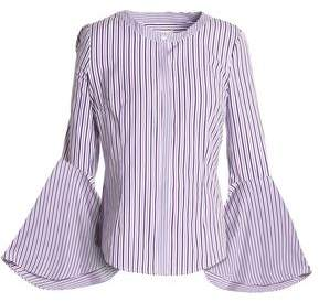 Milly Michelle Striped Cotton-Poplin Blouse