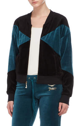 Juicy Couture Color Block Crown Luxe Velour Bomber Jacket