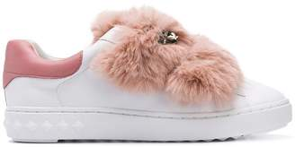Ash fur strap sneakers