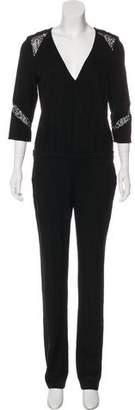 BA&SH Mid-Rise Lace-Accented Jumpsuit