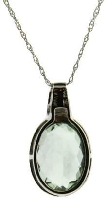 LeVian 14K White Gold Diamond & Green Amethyst Necklace