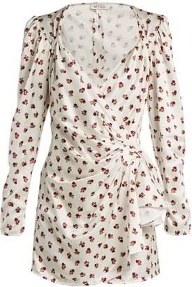 Floral-print satin wrap dress